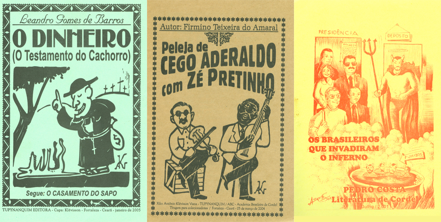 Image of the covers of three examples of cordel literature in the Library's collection.