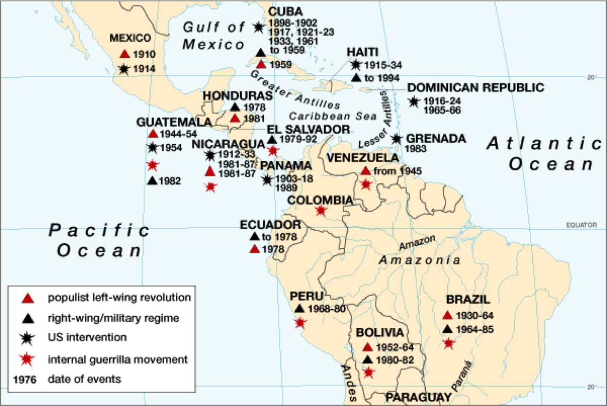 Chapter Dynamics Of Political Transformation Modern Latin - Us latin american intervention maps