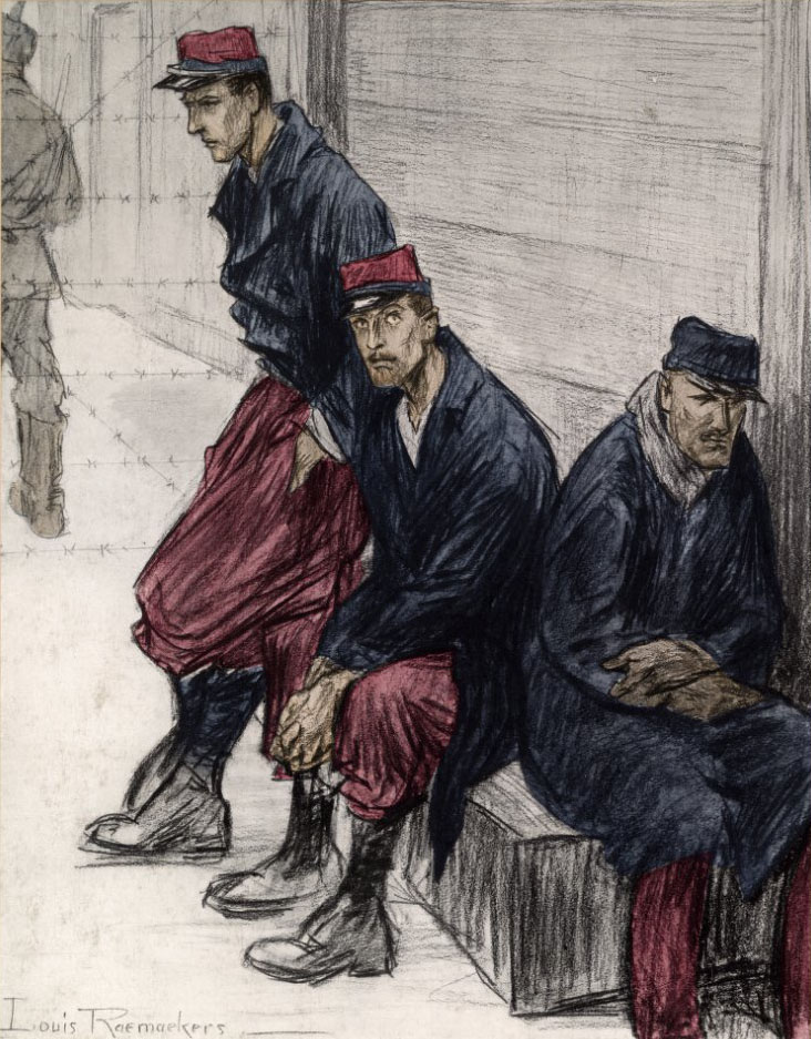 French Prisoners of War, c. 1914-1915, by Louis Raemakers.