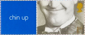 stamp reading 'chin up' with a photo of a man's chin