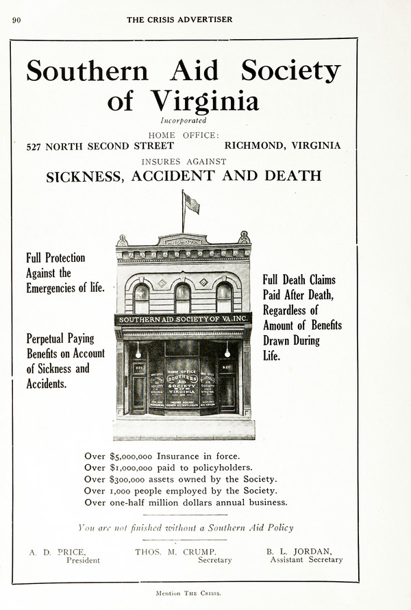 Advertisement: Southern Aid Society of Virginia