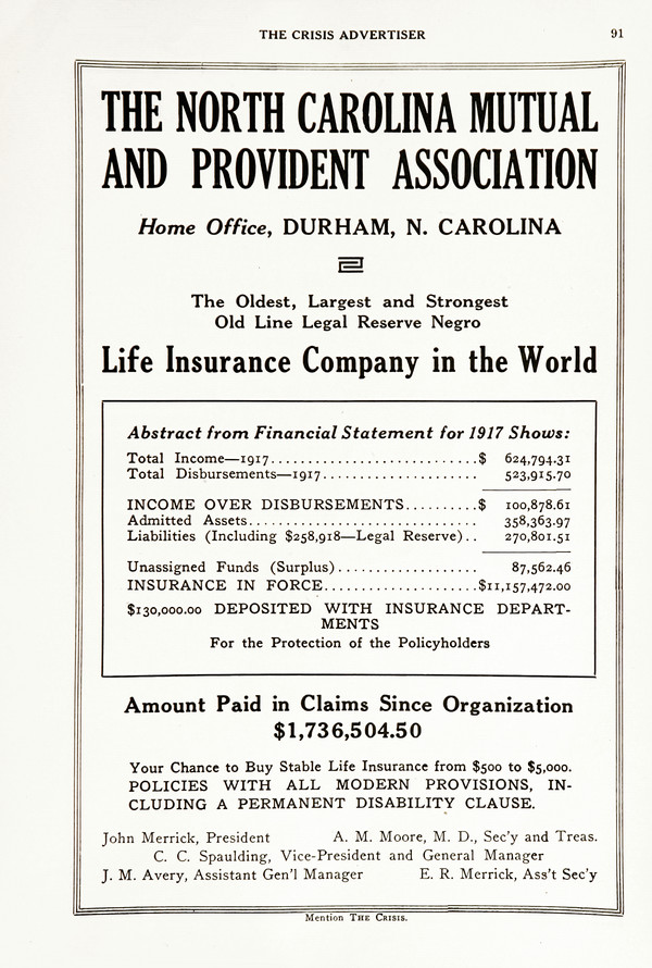 Advertisement: The North Carolina Mutual and Provident Association